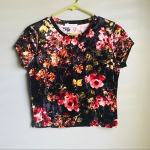 🔸Urban Outfitters🔸 Floral velvet crop top
